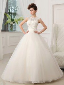 Custom Designed Scoop Sleeveless Organza Wedding Dresses Beading and Appliques Zipper