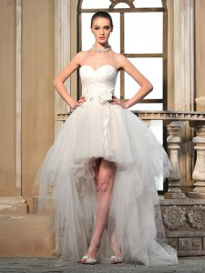 Hot Sale Tulle Sleeveless High Low Bridal Gown and Ruching and Hand Made Flower