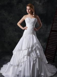 Shining Taffeta Sleeveless Wedding Gowns Brush Train and Ruffled Layers and Ruching