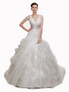White Lace Up V-neck Beading and Appliques and Ruffles and Pick Ups Bridal Gown Organza Sleeveless Court Train