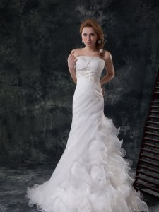Sleeveless Brush Train Beading and Appliques and Ruching Lace Up Wedding Gown