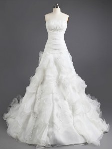 New Style Sleeveless Organza With Train Court Train Lace Up Wedding Gown in White with Beading and Ruffles