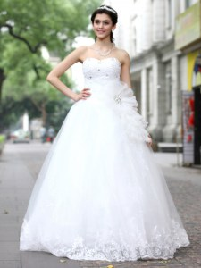 Luxury White Tulle and Lace Lace Up Sweetheart Sleeveless Floor Length Wedding Dress Sequins