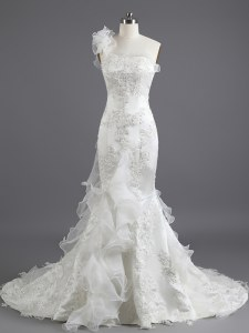 Stylish Mermaid Sleeveless With Train Beading and Appliques and Ruffles Lace Up Wedding Gown with White Chapel Train