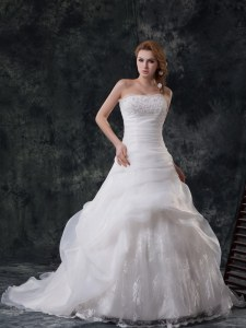 White Ball Gowns Organza Strapless Sleeveless Beading and Appliques and Ruching and Pick Ups With Train Zipper Wedding Gowns Brush Train