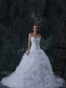 High Class Sleeveless Court Train Lace Up With Train Beading Wedding Dresses