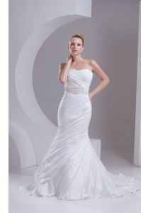 Mermaid White Taffeta Lace Up Strapless Sleeveless Wedding Dresses Brush Train Beading and Appliques and Ruching
