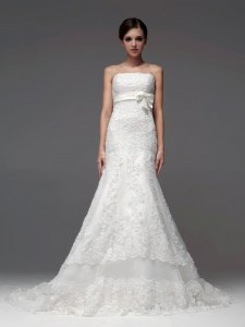 White Lace Up Strapless Lace and Appliques Wedding Gowns Lace Sleeveless Brush Train