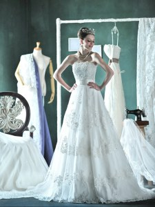 Gorgeous White Lace Up Strapless Lace and Appliques Bridal Gown Lace Sleeveless Court Train