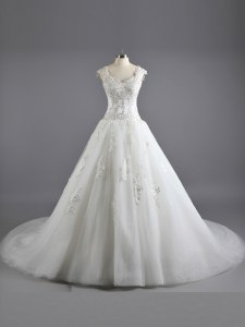 Luxury Floor Length A-line Cap Sleeves White Wedding Gowns Court Train Lace Up
