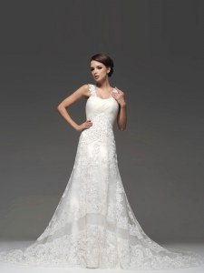 White A-line Straps Sleeveless Lace Brush Train Lace Up Lace and Appliques Wedding Dresses