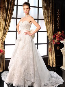 Smart White Lace Up Wedding Dresses Beading and Lace and Bowknot Sleeveless Brush Train
