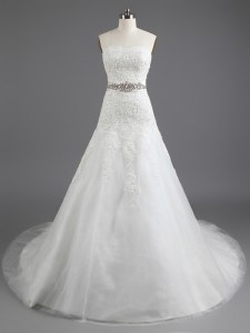 Top Selling White Strapless Lace Up Beading and Lace and Appliques Wedding Dress Court Train Sleeveless