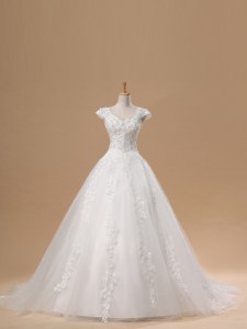 Short Sleeves Brush Train Lace and Appliques Lace Up Bridal Gown