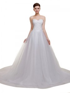 Sleeveless Court Train Lace Up With Train Beading and Lace and Appliques Bridal Gown
