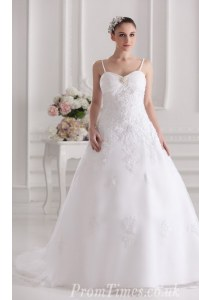 Sleeveless Tulle and Lace Brush Train Zipper Wedding Dress in White with Beading and Lace and Appliques