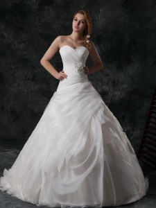 Fitting White Lace Up V-neck Ruffled Layers and Hand Made Flower Wedding Dress Organza Sleeveless Brush Train