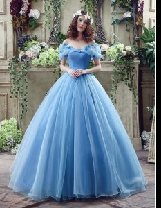 Attractive Blue Off The Shoulder Neckline Ruching and Bowknot Wedding Gown Sleeveless Lace Up