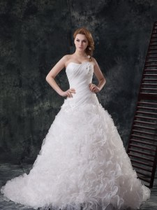 With Train A-line Sleeveless White Wedding Gowns Court Train Lace Up
