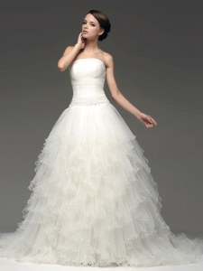 Beautiful White Bridal Gown Strapless Sleeveless Sweep Train Lace Up