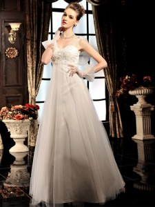 New Arrival White Empire V-neck Sleeveless Tulle Floor Length Lace Up Beading Wedding Dress