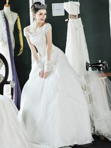 New Style White Off The Shoulder Neckline Beading and Lace and Appliques Bridal Gown Cap Sleeves Lace Up