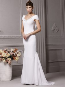Delicate Mermaid White Cap Sleeves Chiffon Brush Train Side Zipper Wedding Dresses for Wedding Party