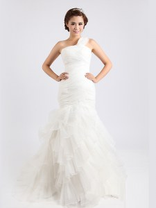 Fashionable Mermaid White One Shoulder Zipper Ruffled Layers Bridal Gown Brush Train Sleeveless