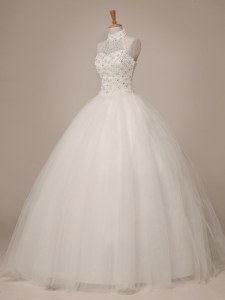 Fitting Halter Top Floor Length White Wedding Dresses Tulle Sleeveless Beading