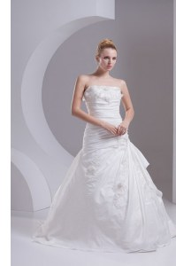 Delicate Sleeveless Brush Train Side Zipper Hand Made Flower Bridal Gown