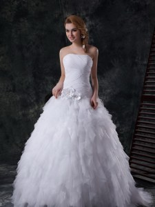Vintage With Train White Wedding Dress Tulle Brush Train Sleeveless Beading and Ruffles and Ruching and Hand Made Flower