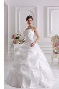Sweetheart Sleeveless Court Train Lace Up Wedding Dresses White Satin