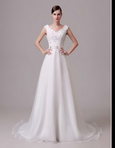 Top Selling White Sleeveless With Train Beading and Sashes ribbons Clasp Handle Bridal Gown