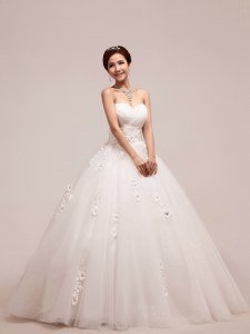 White A-line Appliques and Ruching and Hand Made Flower Wedding Dress Lace Up Tulle Sleeveless Floor Length