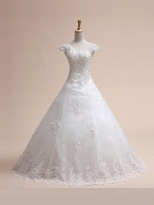 Customized With Train Lace Up Wedding Dress White for Wedding Party with Beading and Appliques and Bowknot Court Train