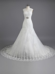 White Mermaid Sweetheart Sleeveless Lace With Train Chapel Train Lace Up Beading and Lace Bridal Gown