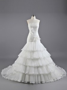 Enchanting White Bridal Gown Wedding Party and For with Ruffled Layers and Hand Made Flower Strapless Sleeveless Brush Train Lace Up