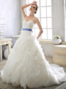 Eye-catching Court Train Ball Gowns Bridal Gown White Sweetheart Organza Sleeveless With Train Lace Up
