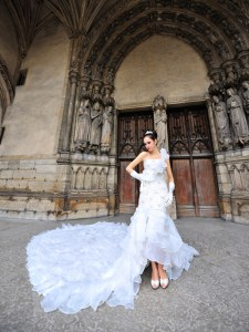 Organza One Shoulder Sleeveless Cathedral Train Lace Up Lace Wedding Gown in White