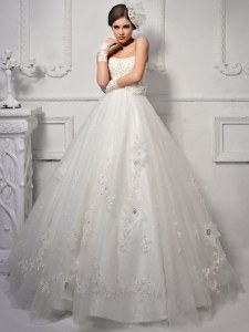 Flirting Sweetheart Sleeveless Lace Up Wedding Dresses White Tulle