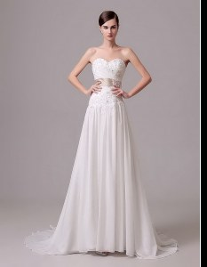 Sleeveless Chiffon With Brush Train Lace Up Wedding Dress in White with Beading and Belt