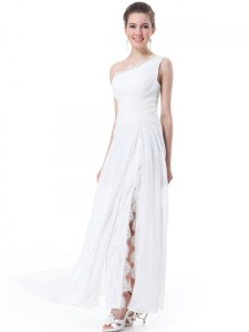White Chiffon Zipper One Shoulder Sleeveless Floor Length Wedding Gowns Lace