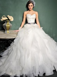 White Lace Up Wedding Gowns Beading and Ruffles and Belt Sleeveless Brush Train