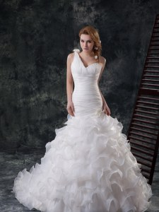 Romantic One Shoulder Ruffled With Train Mermaid Sleeveless White Bridal Gown Brush Train Lace Up