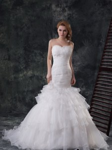 Inexpensive Mermaid Sweetheart Sleeveless Organza Wedding Gown Beading and Ruffled Layers Lace Up