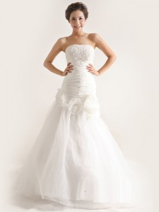 Excellent White Wedding Dress Tulle Sweep Train Sleeveless Lace and Ruching and Hand Made Flower