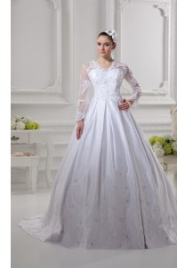 Inexpensive Scalloped Long Sleeves Wedding Gown Court Train Lace White Satin