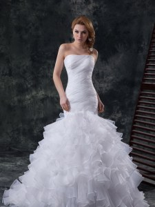 Mermaid White Sleeveless Brush Train Ruffles and Ruching Wedding Gowns