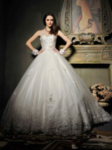 Floor Length White Wedding Gown Strapless Sleeveless Lace Up