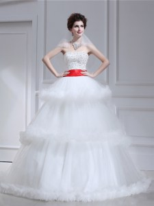 Luxurious White Tulle Lace Up Wedding Dresses Sleeveless With Brush Train Beading and Ruffled Layers